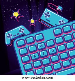 video game with keyboard and controls retro style