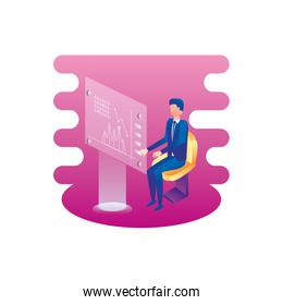 businessman seated with statistics template webpage