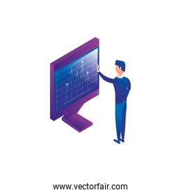 businessman worker with display computer