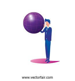 businessman worker with sphere browser