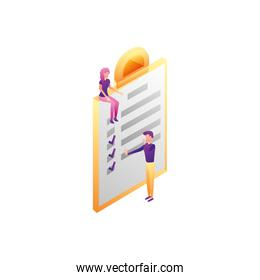 business couple workers with checklist document