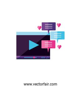 video media player template with chat bubbles
