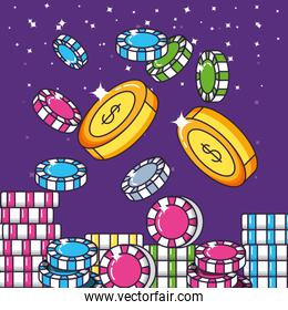 casino game pile chips icons
