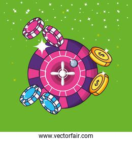 casino game roulette and pile chips