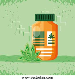 bottle of medicine cannabis with leafs