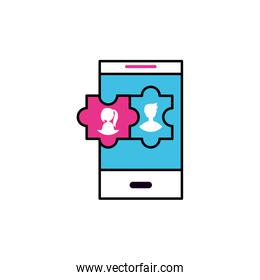smartphone with users accounts vector ilustration