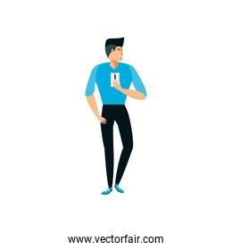 strong young man using smartphone character