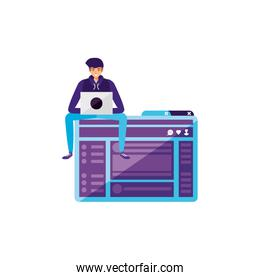 young man using laptop in webpage template
