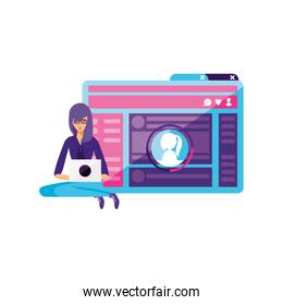 young woman using laptop in webpage template