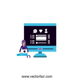 young woman using laptop computer with desktop