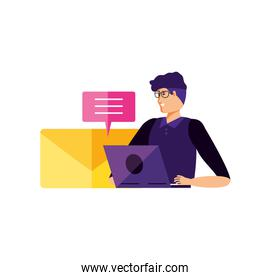 young man using laptop with speech bubble and email