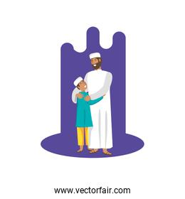 islamic man with son characters