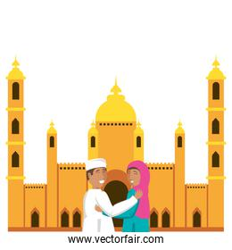 islamic couple lovers with mosque building