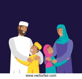 islamic couple lovers with kids