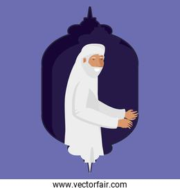 old islamic man character vector ilustration