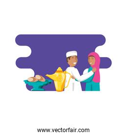 islamic couple lovers with food
