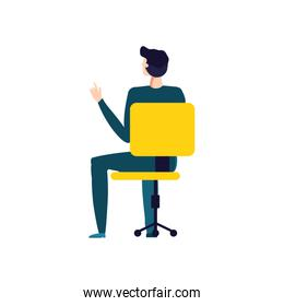 elegant businessman seated in office chair