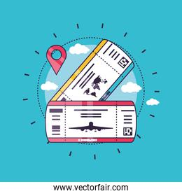 Tickets and gps icon design