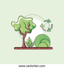 Tree and sustainability design vector design