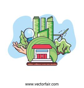 City and sustainability design vector ilustration