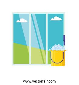 Isolated cleaning bucket and window design