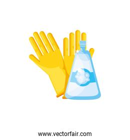 Isolated cleaning gloves and detergent design