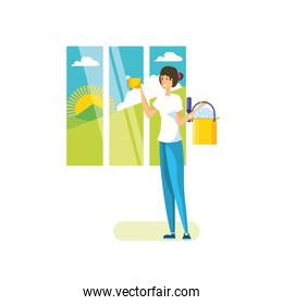 Isolated woman cartoon cleaning design