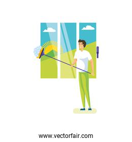 Isolated man cartoon cleaning design