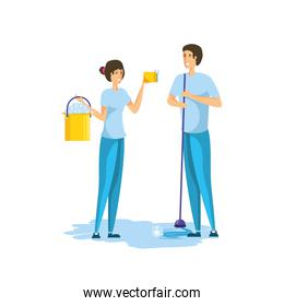 Isolated woman and man cartoon cleaning design