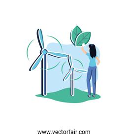 Avatar woman and wind mill design