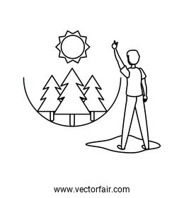Isolated pine trees and avatar man design
