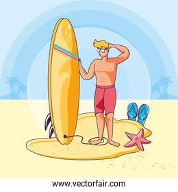 young man with surfboard in beach summer scene