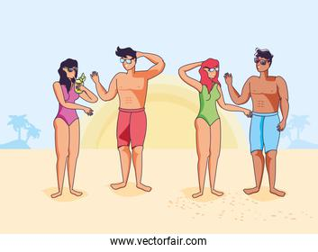 people with swimsuit in beach summer scene
