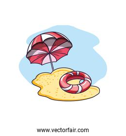float protection summer with umbrella in beach