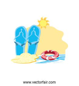 summer flip flops accessory in the beach with float