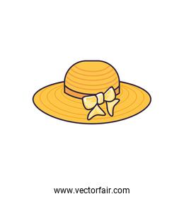 summer hat female wicker isolated icon