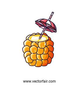 cocktail of pineapple fruit isolated icon