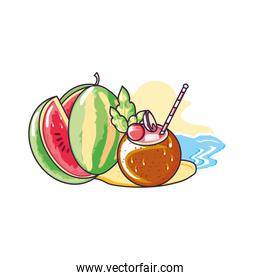 healthy watermelon in the beach with coconut cocktail
