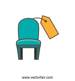 chair with price tag hanging