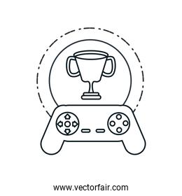 video game control retro with trophy cup