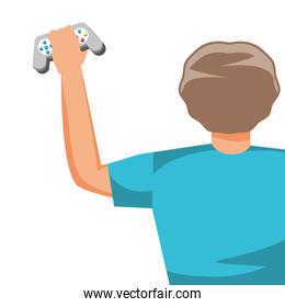 young boy using video game control