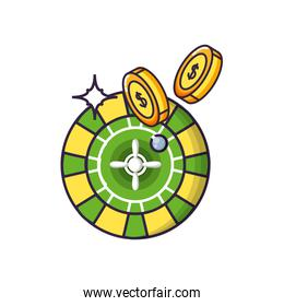 casino roulette game with coins