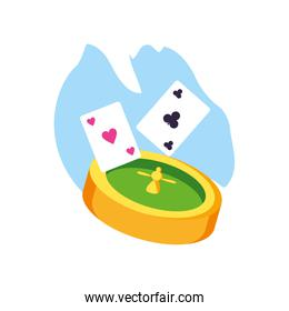 casino roulette game with poker cards isolated icon