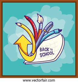 back to school with set pencils and paint brush