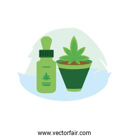 cannabis bottle product dropper with houseplant