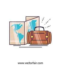 travel suitcase equipment with paper map