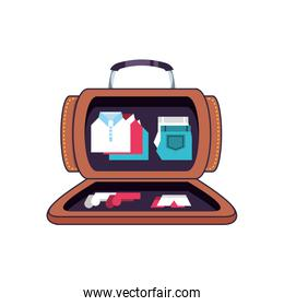 travel suitcase equipment open with accessories
