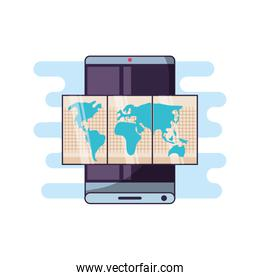 smartphone with paper map travel app