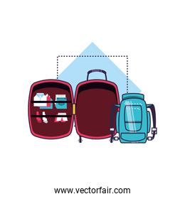 travel suitcases equipment isolated icons