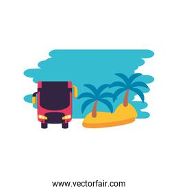 island beach with bus transport vehicle